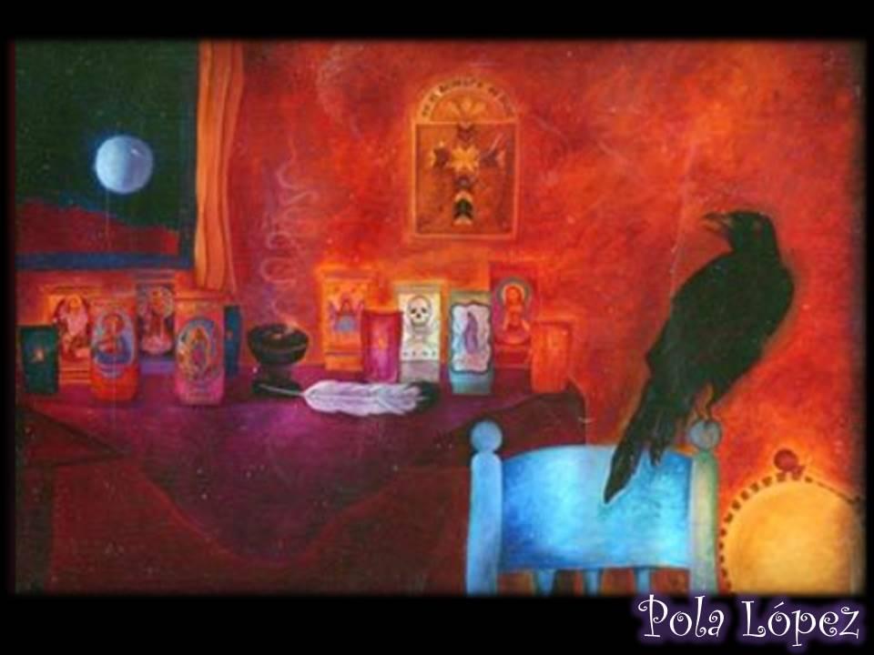 raven over curandera's altar